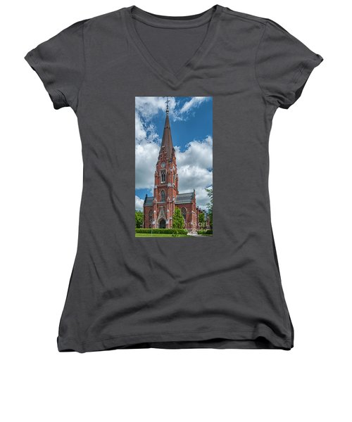 Women's V-Neck T-Shirt (Junior Cut) featuring the photograph Lund All Saints Church by Antony McAulay