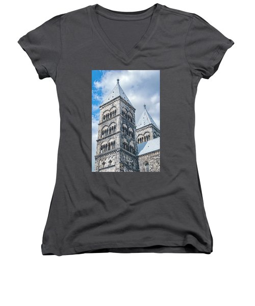 Women's V-Neck T-Shirt (Junior Cut) featuring the photograph Lund Cathedral In Sweden by Antony McAulay