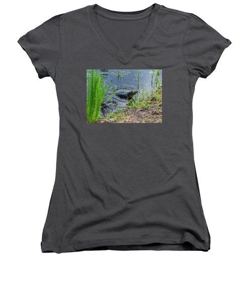 Lunging Bull Gator Women's V-Neck T-Shirt
