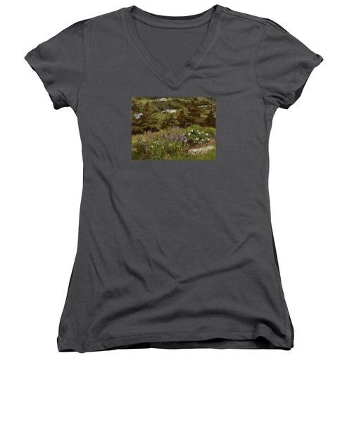 Lupine And Wild Roses Women's V-Neck T-Shirt (Junior Cut) by Jane Thorpe