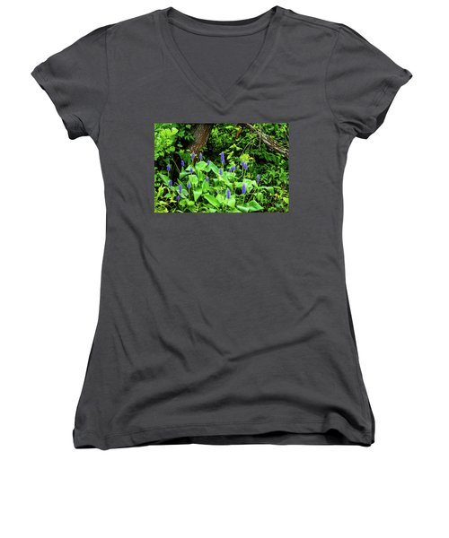 Lush Purple Flowers In The Woods Women's V-Neck