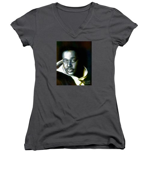 Luther Vandross - Singer  Women's V-Neck (Athletic Fit)