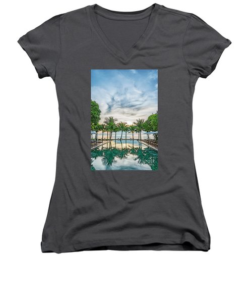 Women's V-Neck T-Shirt (Junior Cut) featuring the photograph Luxury Pool In Paradise by Antony McAulay