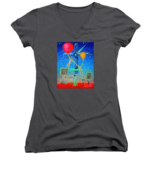 Women's V-Neck T-Shirt (Junior Cut) featuring the painting L.v P. by Viktor Lazarev