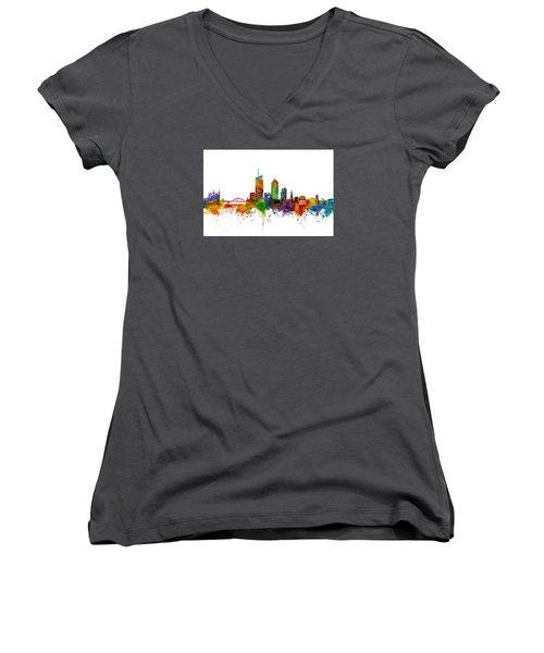 Lyon Skyline Cityscape France Women's V-Neck T-Shirt (Junior Cut) by Michael Tompsett