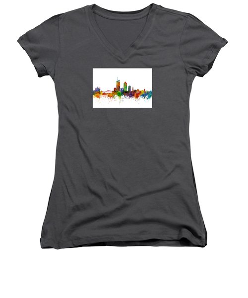 Lyon Skyline Cityscape France Women's V-Neck T-Shirt