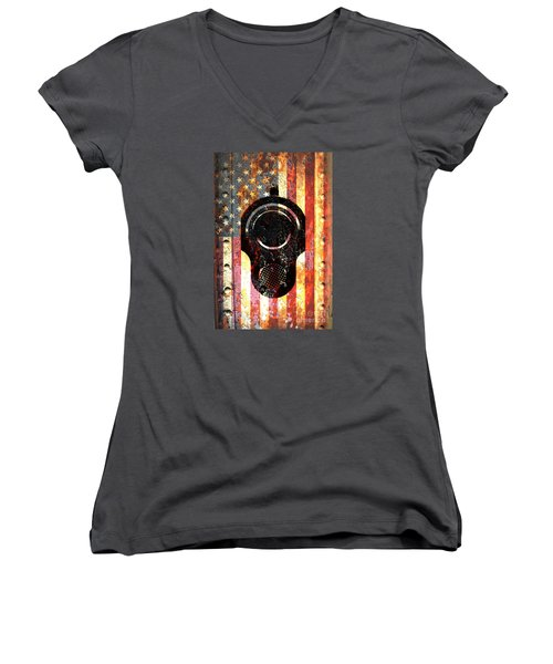 M1911 Colt 45 On Rusted American Flag Women's V-Neck T-Shirt (Junior Cut) by M L C