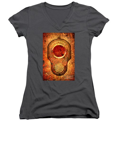 M1911 Muzzle On Rusted Background - With Red Filter Women's V-Neck T-Shirt (Junior Cut) by M L C