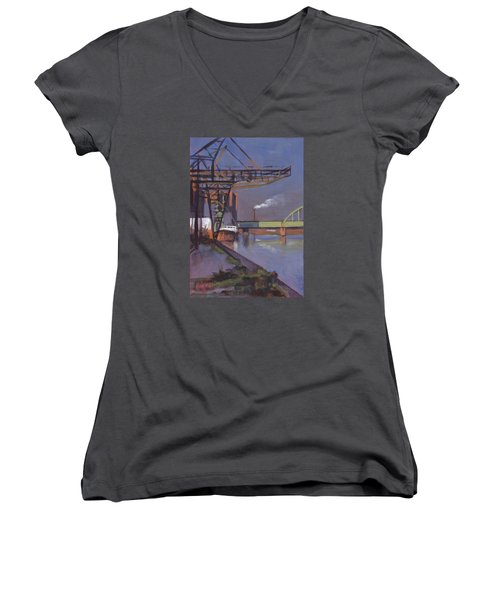 Maastricht Industry Women's V-Neck T-Shirt (Junior Cut) by Nop Briex