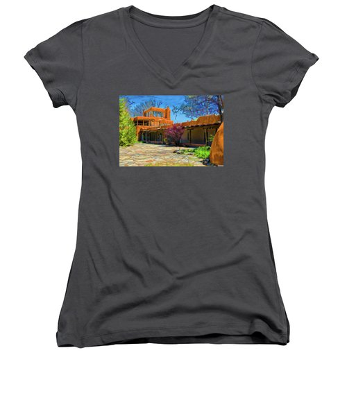 Mabel's Courtyard As Oil Women's V-Neck (Athletic Fit)