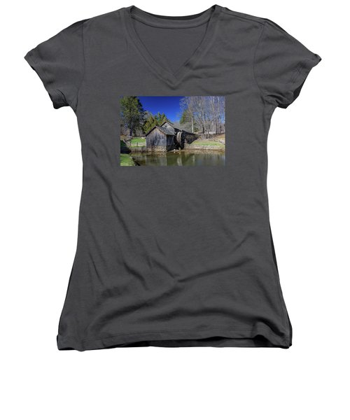 Mabry Mill Late Fall Women's V-Neck (Athletic Fit)