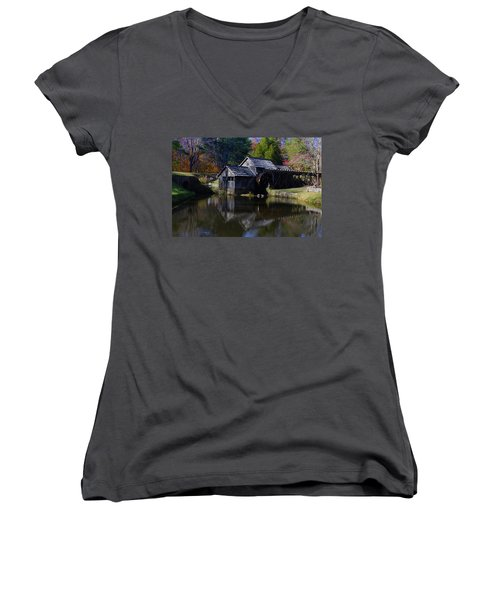 Women's V-Neck T-Shirt (Junior Cut) featuring the photograph Mabrys Mill On The Blue Ridge by B Wayne Mullins