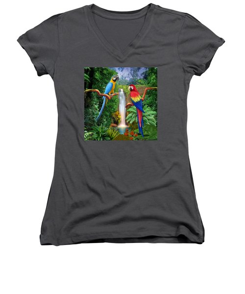 Macaw Tropical Parrots Women's V-Neck (Athletic Fit)