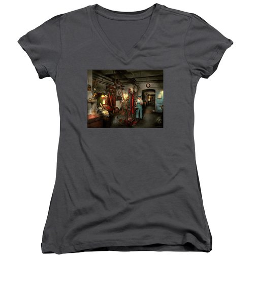 Women's V-Neck T-Shirt (Junior Cut) featuring the photograph Machinist - Government Approved 1919 by Mike Savad