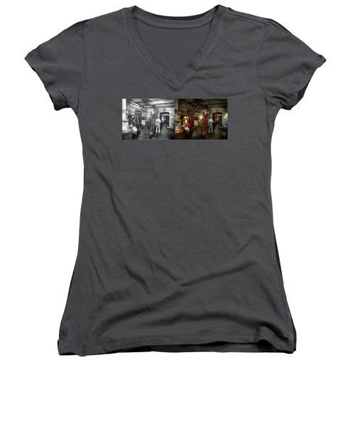 Women's V-Neck T-Shirt (Junior Cut) featuring the photograph Machinist - Government Approved 1919 - Side By Side by Mike Savad