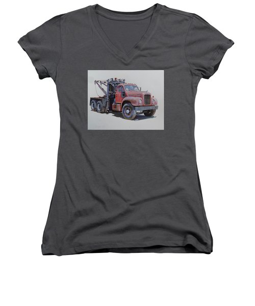 Mack Wrecker. Women's V-Neck T-Shirt (Junior Cut) by Mike  Jeffries
