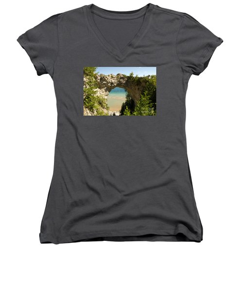 Mackinac Island Arch Women's V-Neck T-Shirt (Junior Cut) by Larry Carr
