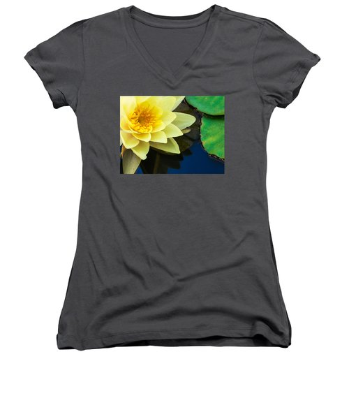 Macro Image Of Yellow Water Lilly Women's V-Neck
