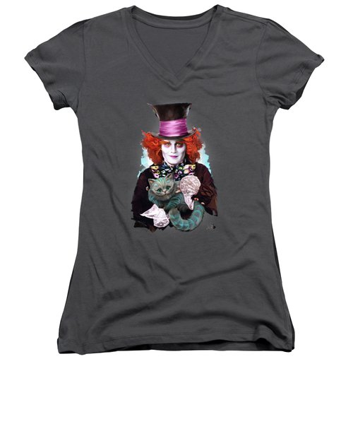 Mad Hatter And Cheshire Cat Women's V-Neck T-Shirt (Junior Cut) by Melanie D