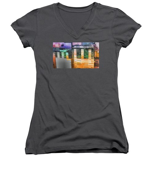 Women's V-Neck T-Shirt featuring the digital art Made For Each Other by Wendy J St Christopher