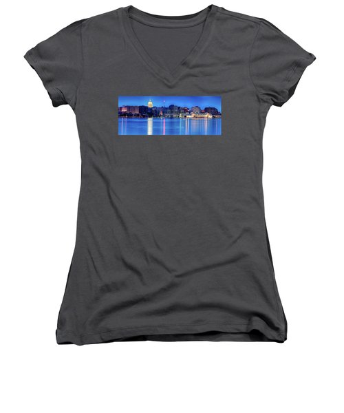 Madison Skyline Reflection Women's V-Neck T-Shirt (Junior Cut)