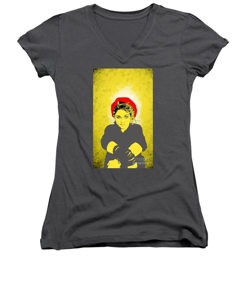 Madonna On Yellow Women's V-Neck (Athletic Fit)