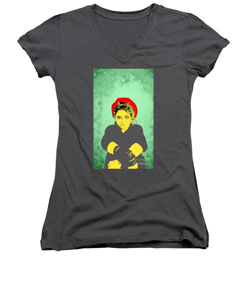 Madonna On Green Women's V-Neck (Athletic Fit)