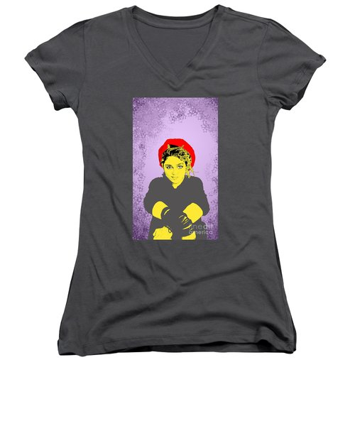 Madonna On Purple Women's V-Neck (Athletic Fit)