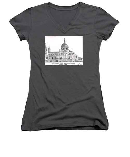 Madrid Cathedral Aimudena Women's V-Neck T-Shirt (Junior Cut) by Frederic Kohli