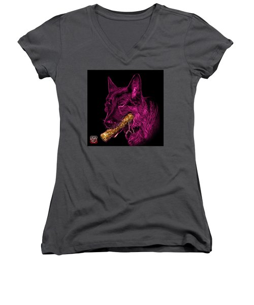 Women's V-Neck T-Shirt (Junior Cut) featuring the digital art Magenta German Shepherd And Toy - 0745 F by James Ahn