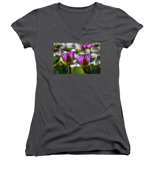 Magenta Water Lilies Women's V-Neck (Athletic Fit)