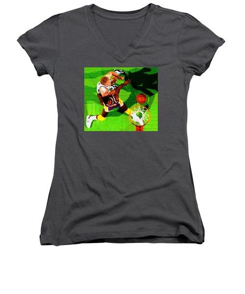 Magic And Bird Women's V-Neck T-Shirt (Junior Cut) by Brian Reaves