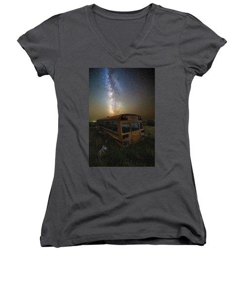 Women's V-Neck T-Shirt featuring the photograph Magic Bus by Aaron J Groen