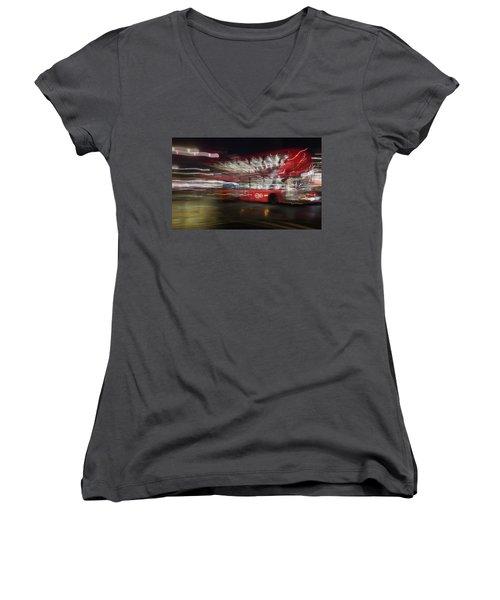 Women's V-Neck T-Shirt featuring the photograph Magic Bus by Alex Lapidus