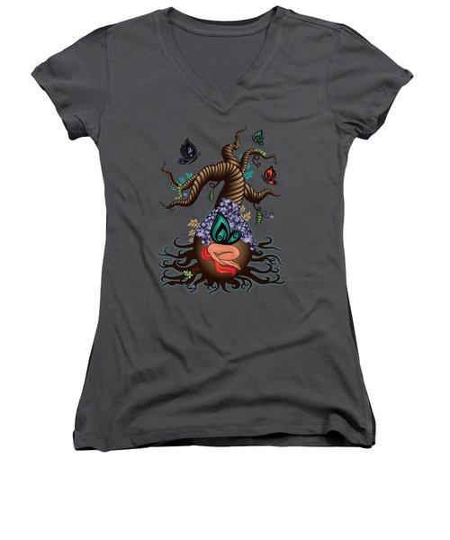 Magic Butterfly Tree Women's V-Neck T-Shirt (Junior Cut) by Serena King