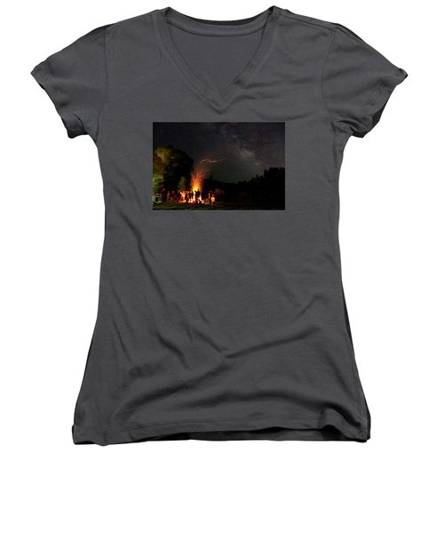 Magical Bonfire Women's V-Neck T-Shirt (Junior Cut) by Matt Helm