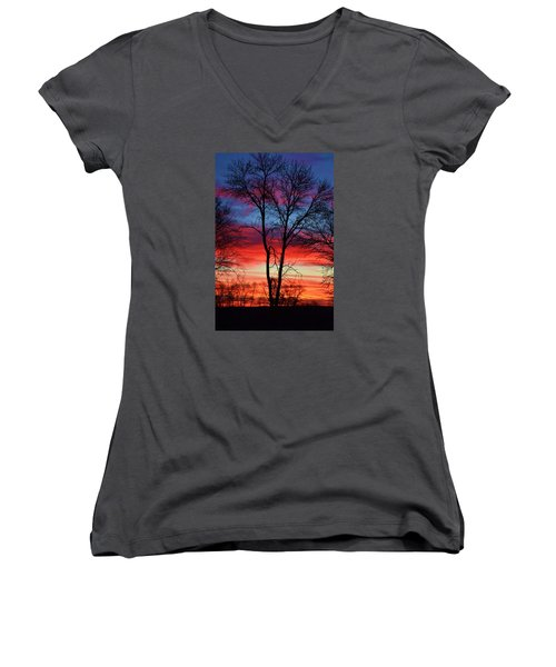 Women's V-Neck T-Shirt (Junior Cut) featuring the photograph Magical Colors In The Sky by Dacia Doroff