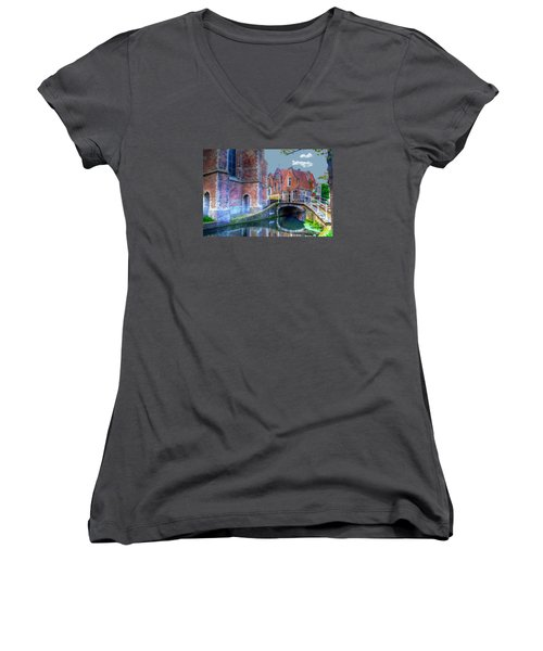 Women's V-Neck T-Shirt (Junior Cut) featuring the photograph Magical Delft by Uri Baruch