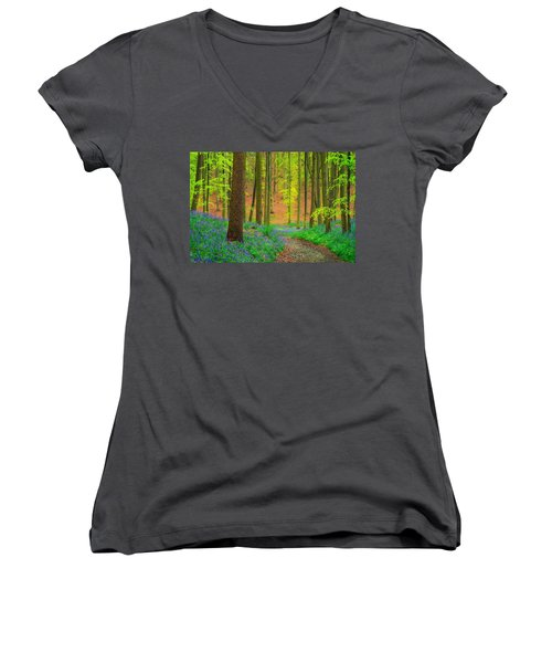 Women's V-Neck T-Shirt (Junior Cut) featuring the photograph Magical Forest by Maciej Markiewicz