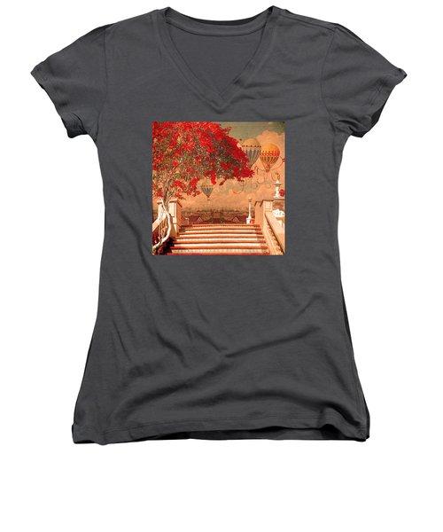 Magical Kindom Women's V-Neck T-Shirt (Junior Cut) by Jeff Burgess