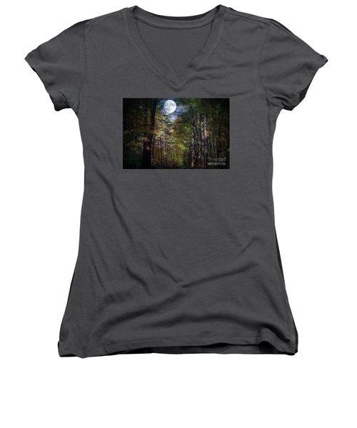 Magical Moonlit Forest Women's V-Neck T-Shirt (Junior Cut) by Judy Palkimas