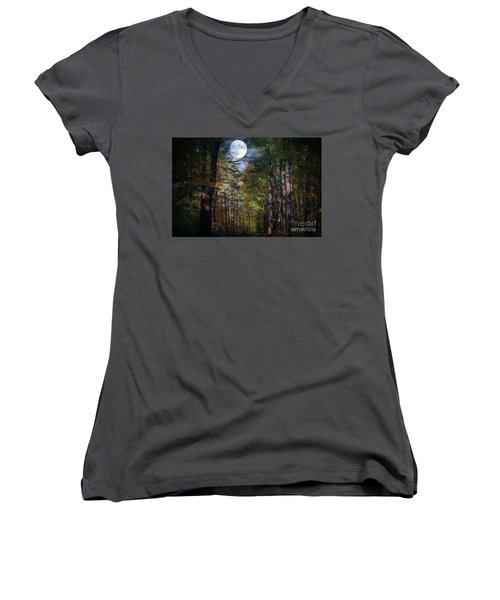 Magical Moonlit Forest Women's V-Neck T-Shirt
