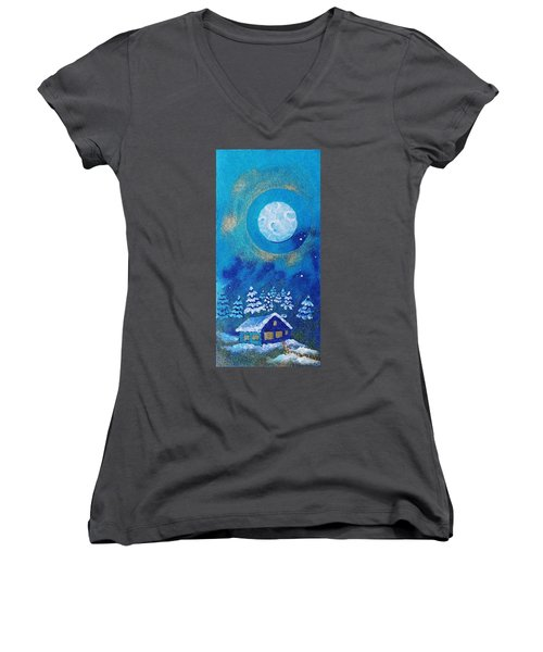 Magical Night At The Cabin Women's V-Neck (Athletic Fit)