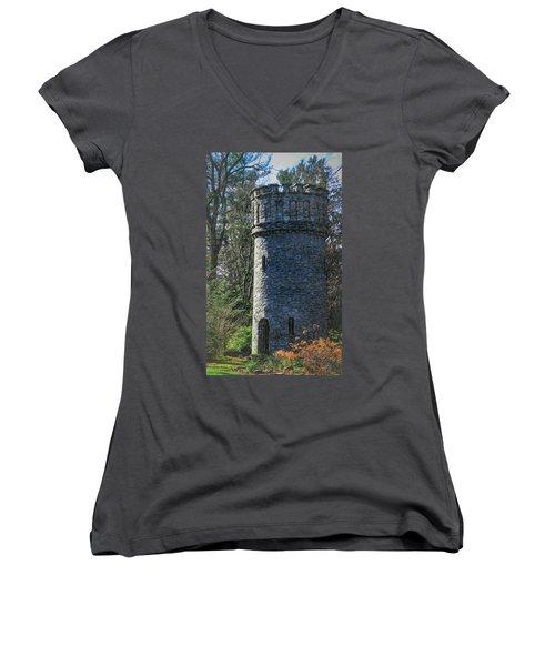 Magical Tower Women's V-Neck T-Shirt (Junior Cut) by Patrice Zinck