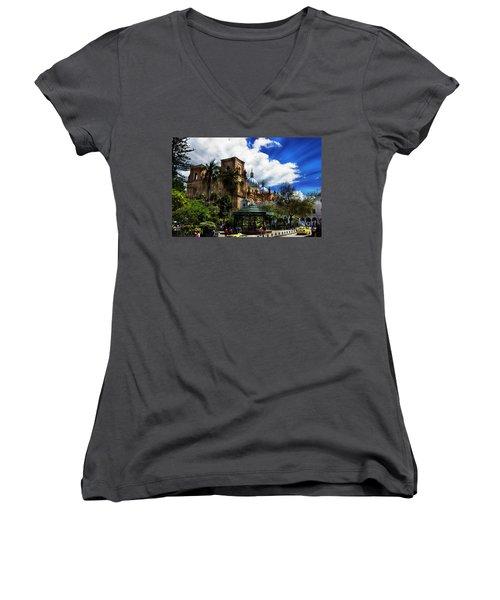 Magnificent Center Of Cuenca, Ecuador IIi Women's V-Neck T-Shirt (Junior Cut) by Al Bourassa