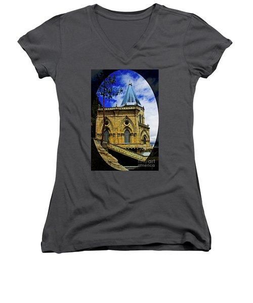 Women's V-Neck T-Shirt (Junior Cut) featuring the photograph Magnificent Church Of Biblian by Al Bourassa