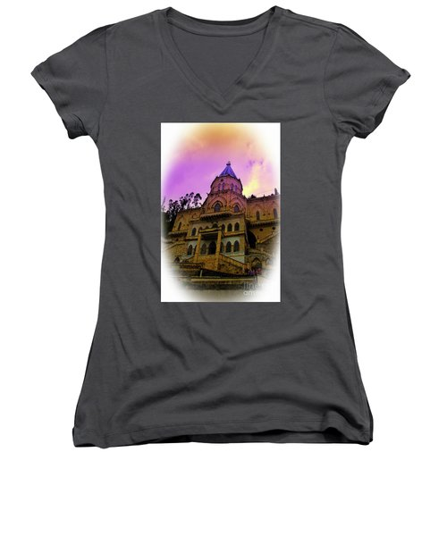Women's V-Neck T-Shirt (Junior Cut) featuring the photograph Magnificent Church Of Biblian II by Al Bourassa