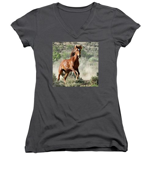 Magnificent Mustang Wildness Women's V-Neck