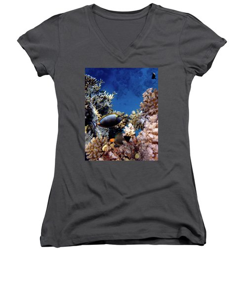 Magnificent Red Sea World Women's V-Neck (Athletic Fit)