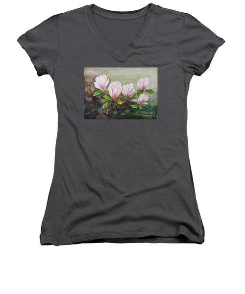 Magnolia Blossom - Painting Women's V-Neck T-Shirt (Junior Cut) by Veronica Rickard